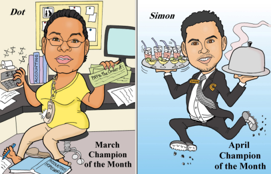 employee rewards caricatures