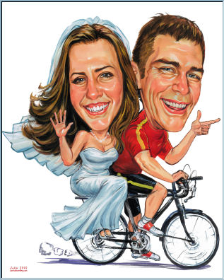 biker rider wedding caricature