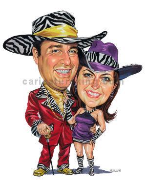 pimp and pro fancy dress caricature
