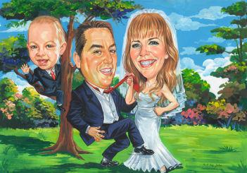 family wedding caricature