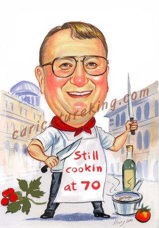 caricature picture of Ron a masterchef