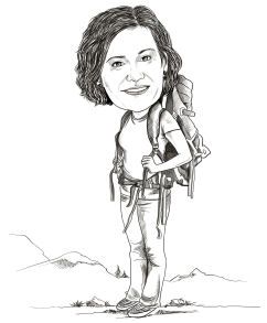 hiker caricature
