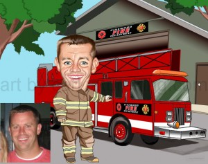 fireman caricature