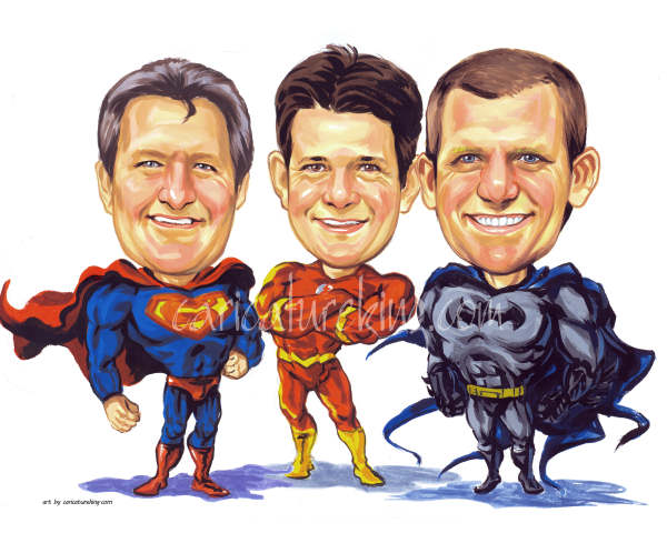 superheros caricature