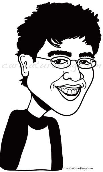 black and white caricature