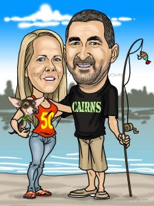caricature 50th birthday and fisherman