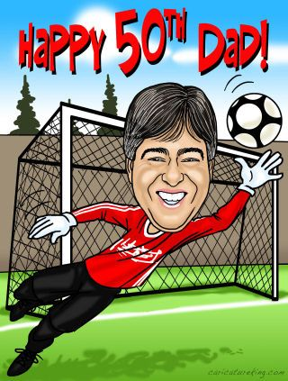man age 50 playing soccer - gift caricature (56K)