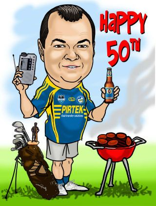 birthday boy at BBQ with golf clubs - gift (59K)