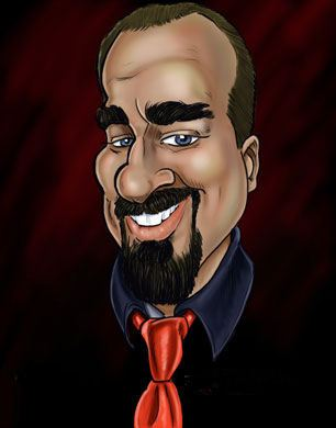 funny caricature of a man in a tie