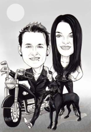 black and white couple caricature