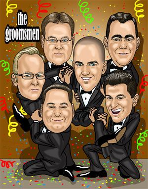 group of groomsmen caricature