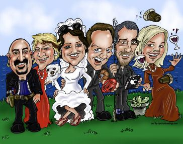 Group caricature of a wedding