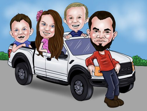 TRUCK FAMILY CARICATURE