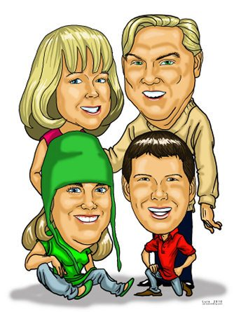 family of 4 caricature memento