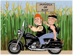 caricature of couple on motorbike retirement getaway
