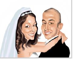 wedding caricature portrait