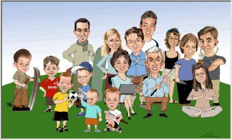 Family caricature by art