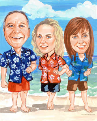 3-person-family custom art caricature