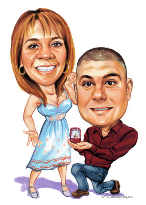 wedding proposal caricature