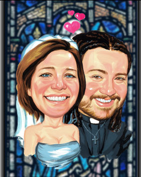 just married caricature (34K)