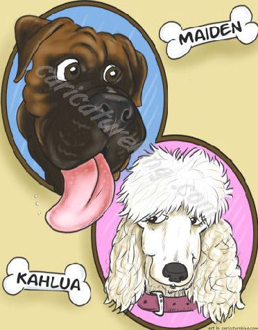 two dogs caricature (49K)