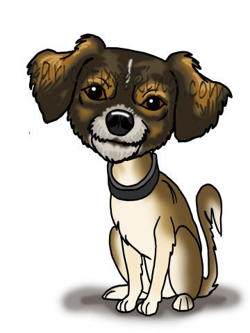 small dog cartoon caricature
